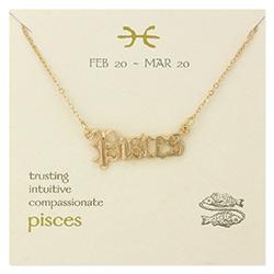 Pisces Script Zodiac Necklace