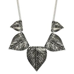 Silver Leaves Bib Necklace