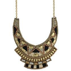 Gold & Black Bead Bib Statement Necklace