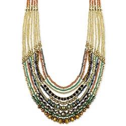 Gold & Copper Bead Multi Line Bib Necklace