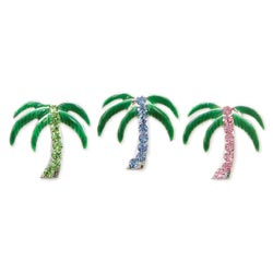 Enamel/Rhinestone Palm Tree Tack Pin