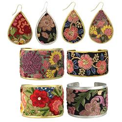 Vintage Embroidered Elegance Cuff Earring Set - 20 pcs