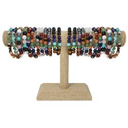 Chakra Stone Bracelet T Bar Display - 36 pcs