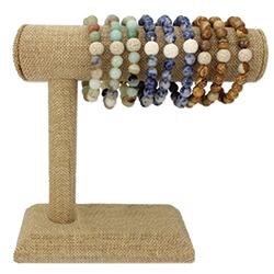 Cream Diffuser Stone Bracelet Display - 18 pcs