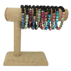 Crackle Bead Stretch Bracelet Bar Display - 12 pcs