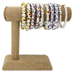 Ceramic Bead Stretch Bracelet Bar Display - 15 pcs
