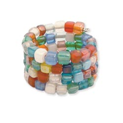 Multi Glass Mosaic Bead Coil Ring