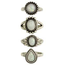 Opal & Silver Band Ring Set