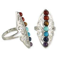 Spiritual Alignment Charka Stone Silver Ring