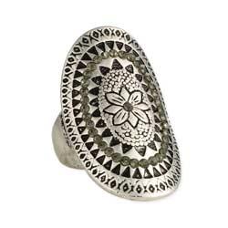 Silver Floral &  Grey Crystal Medallion Ring