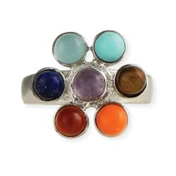 Multi Stone Rainbow Flower Ring