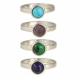 Silver Mines Round Stone Ring