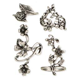 Floral Extravaganza Silver Flowers Ring Set