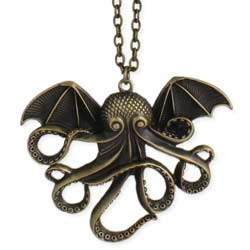 Antique Gold Call of Cthulhu Long Necklace