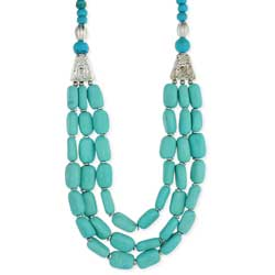 Silver & Turquoise Bead 3 Line Necklace
