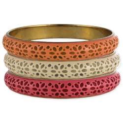 Set of 3 Enamel Cutout Flowers Bangle Bracelet