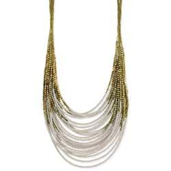 Gold Graduating Cream Bead Necklace
