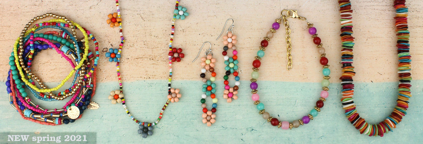 Multicolored stone jewelry set earrings necklace oval stones green red blue orange yellow beads french hooks gift for her